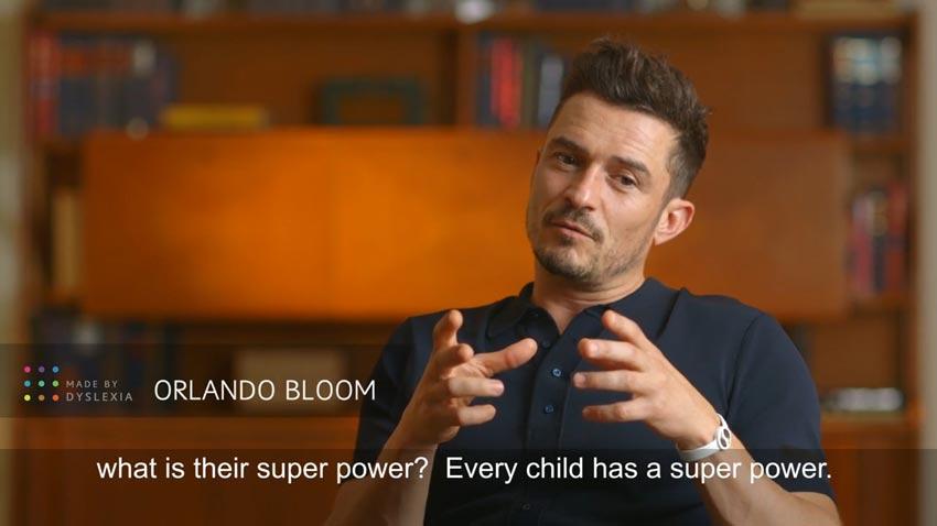 Ordblind. Orlando Bloom udtaler sig om ordblindhed via 'Made by Dyslexia'.
