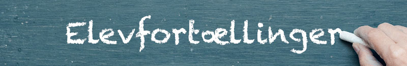 """Elevfortællinger. Billede af grøn tavle med teksten i kridt """"Elevfortællinger. Hånd med kridt til højre i billedet."""