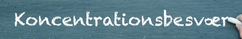 Koncentrationsbesvær skrevet med kridt på tavle. Man ser en hånd med et stykke kridt i højre side af billedet.